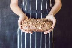 Domowej roboty żyto chleb z słonecznikowymi ziarnami w rękach piekarz Zdjęcia Royalty Free