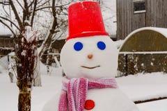 Domowej roboty bałwanów stojaki w zima krajobrazie ono uśmiecha się przy kamerą Fotografia Royalty Free