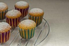 Domowej roboty babeczki z sproszkowanym cukierem na stojaku dla piec Zdjęcie Royalty Free