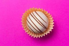 Domowej roboty biała czekoladowa trufla Płaski projekt cukierek piłka Obrazy Royalty Free