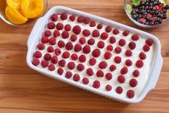 Domowej roboty Biskwitowy deser z Konserwować brzoskwiniami i M Obrazy Royalty Free