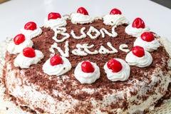 Domowej roboty boże narodzenie tort z wiśniami i śmietanką Zdjęcia Royalty Free