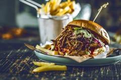 Domowej roboty ciągnący wieprzowina hamburger z bbq kumberlandem zamkniętym w górę zdjęcie stock