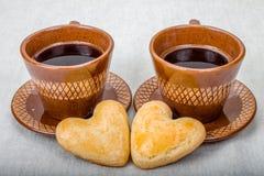 Domowej roboty ciastko kształta serce i kawa Zdjęcie Royalty Free