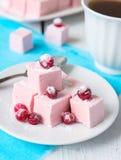 Domowej roboty cranberries marshmallow na błękitnej pielusze. Selekcyjna ostrość Obrazy Stock