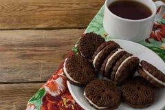Domowej roboty czekolad kanapki, kopii przestrzeń Zdjęcie Stock