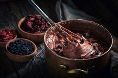 Domowej roboty czekolada robić wysuszone owoc i kakao Obraz Royalty Free
