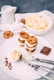 Domowej roboty Czekoladowego układu scalonego ciastka lody Sandiwch obraz stock