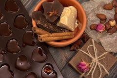 Domowej roboty czekoladowi candys, kakao, kakaowy masło zdjęcia royalty free