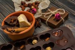 Domowej roboty czekoladowi candys, kakao, kakaowy masło Zdjęcie Royalty Free