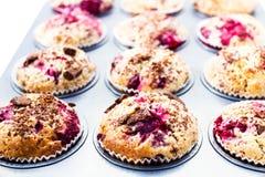 Domowej roboty czekoladowi mali torty z wiśnią w wypiekowej tacy. Clos Fotografia Stock