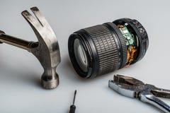 Domowej roboty demontujący kamera obiektyw Obraz Stock