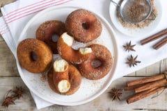 Domowej roboty donuts z cukierem i cynamonem na drewnianym tle Wieśniaka styl zdjęcia stock