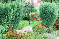 Domowej roboty flowerbed z pięknym cet, rośliny, zielenie i zielona trawa, fotografia stock