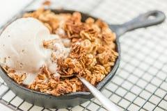 Domowej roboty gotujący rabarbar i jabłko rozdrobnimy z oatmeal i vanil obrazy stock
