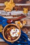 Domowej roboty granola z dokrętkami, cranberries i jogurtem dla śniadania, obraz royalty free
