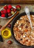 Domowej roboty granola z dokrętek, miodowych i świeżych jagodami, - malinki, truskawki, morwy, agresty Obraz Stock