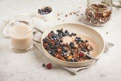 Domowej roboty granola z dokrętkami i koksem z jagodami wewnątrz i mlekiem fotografia stock