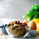 Domowej roboty granola z mlekiem, świeże jagody, mleko dla śniadanie kopii przestrzeni zdrowy śniadaniowy pojęcie rano słońce obraz royalty free