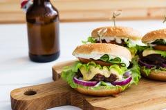 Domowej roboty hamburger wołowina Fotografia Royalty Free