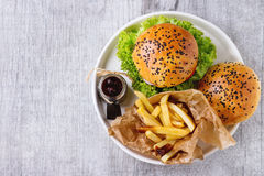 Domowej roboty hamburger z francuskimi dłoniakami zdjęcie royalty free