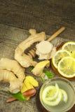 Domowej roboty imbirowa herbata z cytryną Traktowanie grypa i zimna Tradycyjna ludowa medycyna fotografia stock