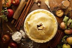 Domowej roboty jabłczany kulebiak przygotowywający piec zdjęcie stock