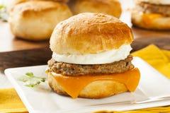 Domowej roboty Jajeczna kanapka z kiełbasą i serem Zdjęcie Royalty Free