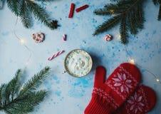 Domowej roboty kakao, gorąca czekolada, jedlinowy drzewo, cukierki lub czerwieni mitynki na błękicie, betonujemy tło fotografia stock