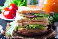 Domowej roboty kanapka z sałatką obrazy royalty free