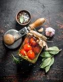 Domowej roboty kiszeni pomidory z pikantność zdjęcia stock