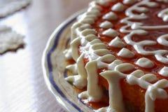 Domowej roboty kremowy kulebiak zdjęcie royalty free