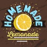 Domowej roboty lemoniada projekt Z Pokrojoną cytryny ilustracją wektor Obraz Royalty Free
