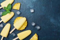 Domowej roboty lody lub popsicles od ananasa dekorowaliśmy z nowym liściem Odgórny widok Zamarznięta owocowa braja Lato zdrowi cu fotografia royalty free