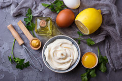 Domowej roboty majonezowy kumberland i oliwa z oliwek, jajka, musztarda, cytryna Obrazy Stock