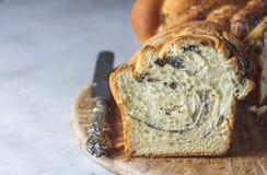 Domowej roboty makowy ziarno splatał chleb, selekcyjna ostrość wianek Krajowi ciasta Zdjęcia Stock