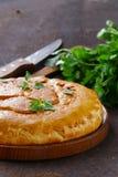 Domowej roboty mięsny kulebiak z grulami Obrazy Royalty Free