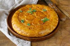 Domowej roboty mięsny kulebiak z grulami Zdjęcia Royalty Free