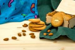Domowej roboty migdałów torty, migdały i Obraz Royalty Free