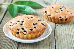 Domowej roboty mini świezi czarna jagoda kulebiaki na bielu talerzu zdjęcia royalty free
