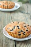 Domowej roboty mini świezi czarna jagoda kulebiaki na bielu talerzu fotografia royalty free