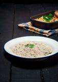 Domowej roboty Moussaka słuzyć z pieczarkowym gęsta zupa rybna chlebem i chutney (wschód - europejska kuchnia) Zdjęcia Royalty Free