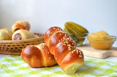 Domowej roboty muffins z kiełbasą obraz stock