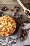 Domowej roboty organicznie jabłczanego kulebiaka deserowy przygotowywający jeść Wyśmienicie i piękny jabłczany kulebiak na drewni Zdjęcia Royalty Free