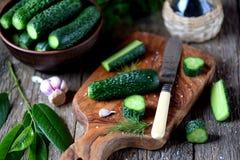 Domowej roboty organicznie lekko soleni ogórki Organicznie, zdrowy jedzenie, Zdjęcie Royalty Free