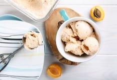Domowej roboty owocowy morelowy lody w filiżance obrazy stock