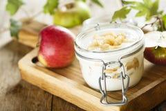 Domowej roboty płatowaty deser z jabłkami zdjęcia royalty free