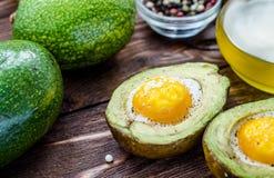 Domowej roboty piec avocado z jajkiem Fotografia Stock