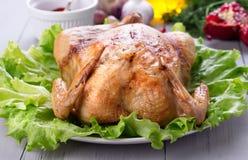 Domowej roboty piec kurczak dla świątecznego gościa restauracji Zdjęcie Stock