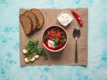 Domowej roboty rosjanina, kniaź i połysku krajowa polewka, - czerwony borscht robić beetrot, warzywa i mięso z kwaśną śmietanką, fotografia stock